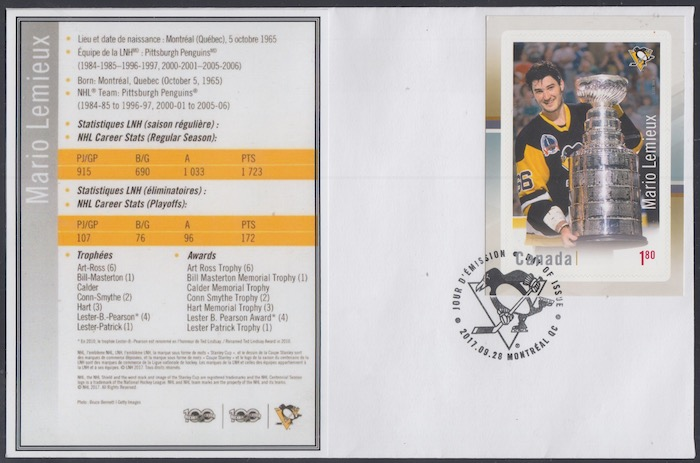 Details about CANADA # 3037 - LEGENDS of HOCKEY MARIO LEMIEUX on SUPERB  FIRST DAY COVER